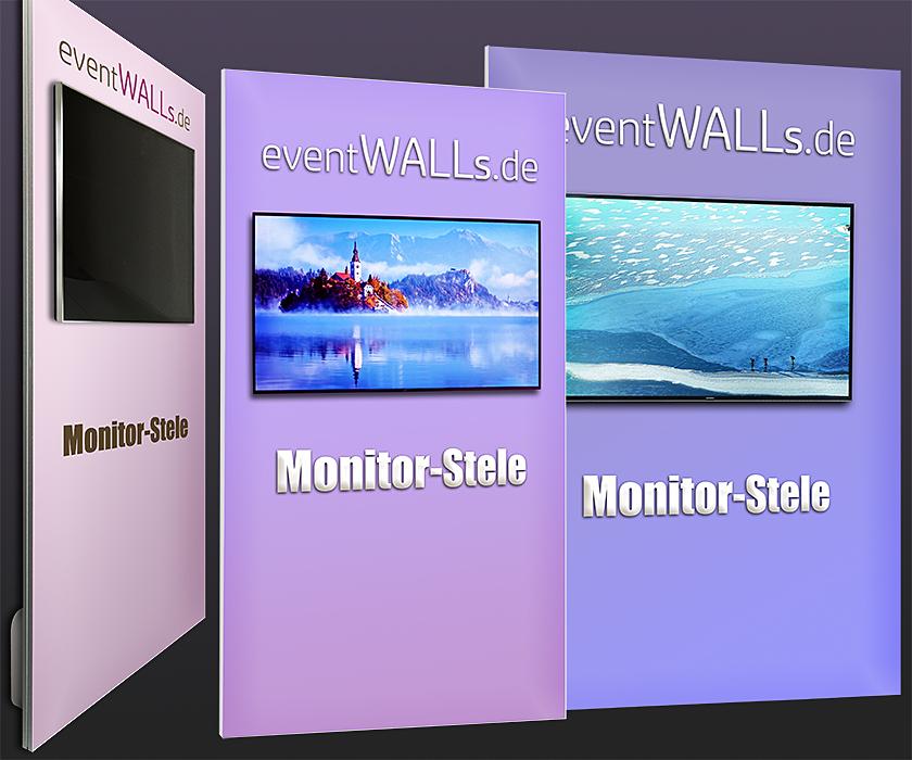 Jeder Monitor bis 65 Zoll kann an der Monitor-Stele befestigt werden. Die Monitor-Stele ist 200 oder 225 cm hoch und 100 bis 200 cm breit.