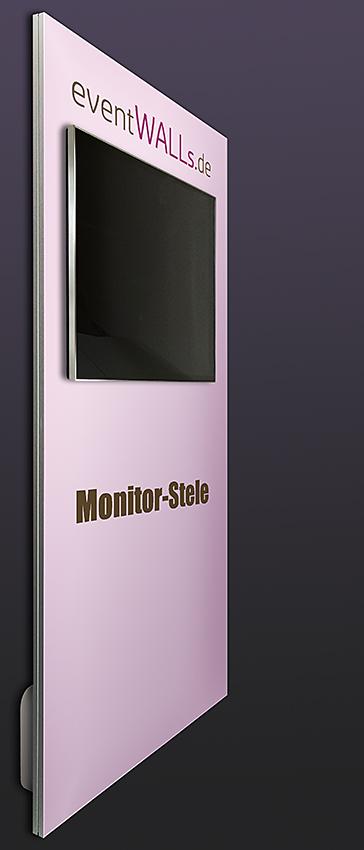 Die Monitor-Stele präsentiert den Monitor optimal vor der Werbefläche, ein perfektes Multimedia-Display.