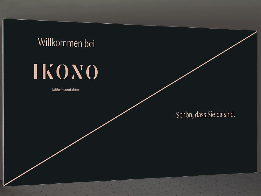 Pressewand IKONO 500 x 230 cm ohne sichtbare Standfüße