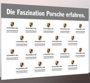 Textil-Messewand Porsche 300 x 200 cm ohne sichtbare Standfüße