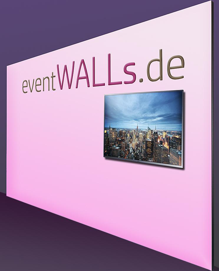 Textil-Messewand 500 x 250 cm mit Monitor