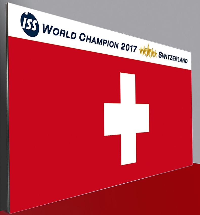 Pressewand 550 x 240 cm World Champion Schweiz