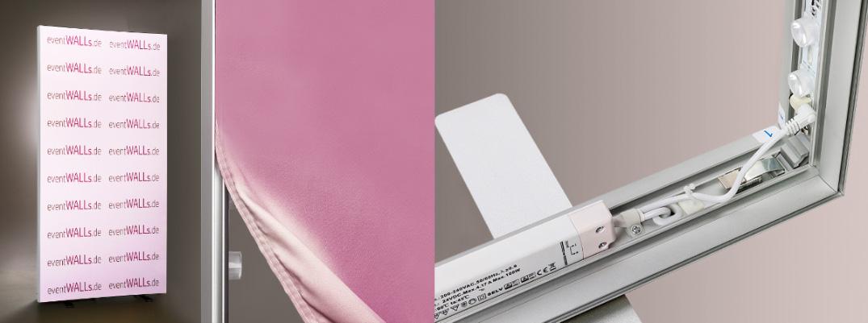 transportabler LED Banner Stand 100 x 200 cm oder 100 x 250 cm ohne Werkzeug aufzustellen