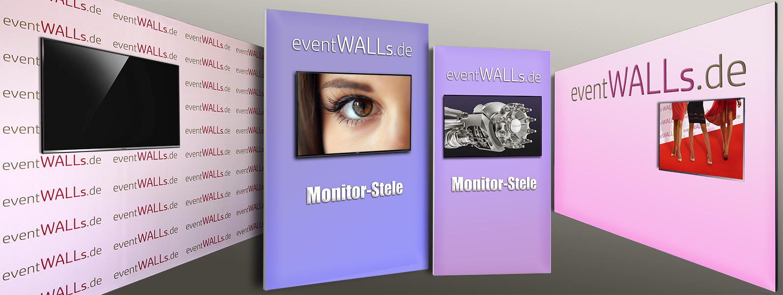An der mobilen Textil-Messewand lässt sich jeder Monitor bis 65 Zoll montieren. Damit bringen Sie bewegte Bilder an die Messewand.